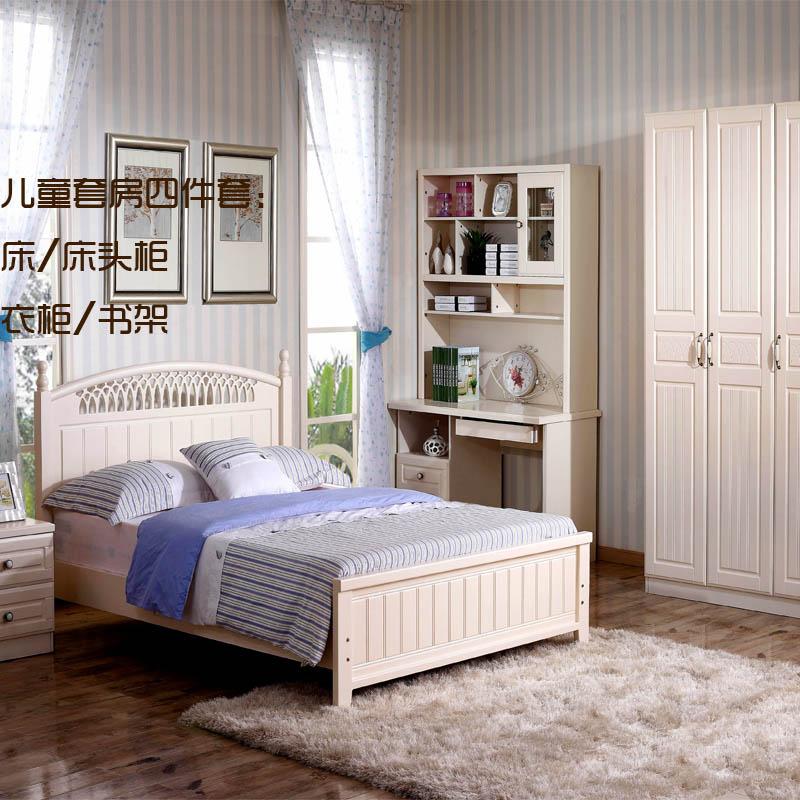 欧式美式乡村板式白色床衣柜书桌书架床头柜组合图片