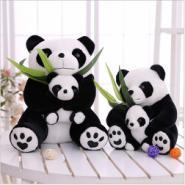 可爱母子熊猫公仔亲子熊毛绒玩具国宝抱竹叶玩偶来样定做厂家批发