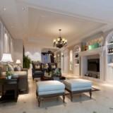 恒信福竹木纤维集成墙面板美式风格客厅全屋整装