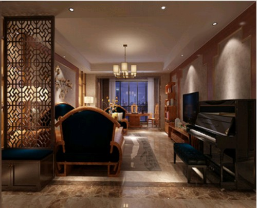 恒信福竹木纤维集成墙面板新中式风格客厅全屋整装