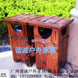 碳化木垃圾桶图片