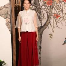 木棉道2017新款女上衣 棉麻手绘 唐装中式服装女休闲裤子 两件套装16120