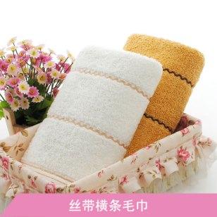 浙江丝带横条毛巾图片