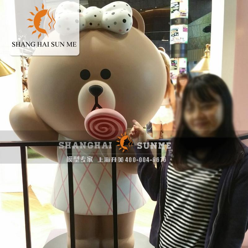 模型专家【上海升美】玻璃钢雕塑布朗熊与可妮兔雕塑仿真动物模型摆件定制