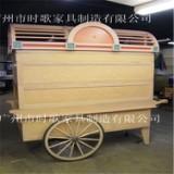 户外实木售货车  可移动式售货亭 木制杂货车  防腐实木售卖亭  美食街防腐木售货车(图)