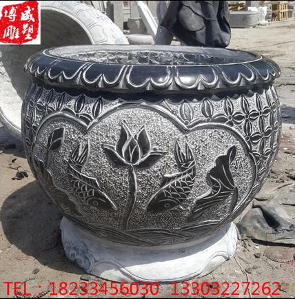 石雕青石做旧圆缸养鱼养荷花摆件石 曲阳仿古做旧水缸花盆供应
