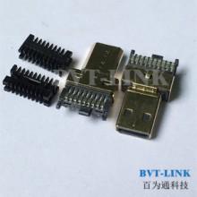 深圳HDMI D TYPE公头焊线式带线夹生产厂家直销