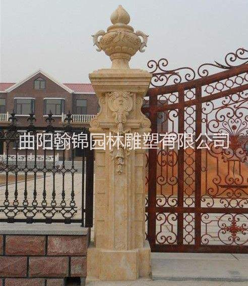 石雕欧式柱子 欧式大门柱厂家 石柱文化柱报价 装饰柱价格