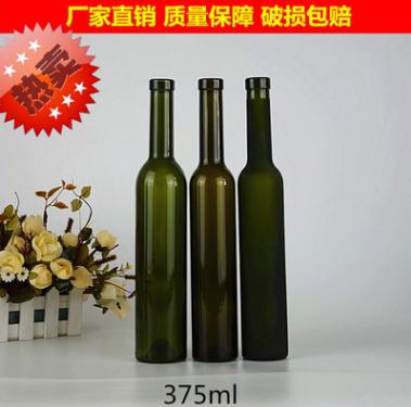 批发定制375ML墨绿色红酒瓶 蒙砂葡萄空瓶子出口威士忌冰瓶
