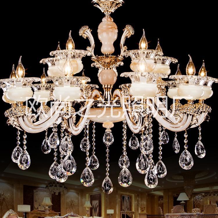 欧式水晶吊灯 简约餐厅灯大气吊灯蜡烛水晶灯 简欧灯具灯饰批发 6028