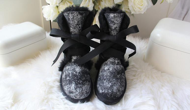 羊皮毛一体雪地靴冬季新款中筒短筒蝴蝶结平跟保暖棉鞋女靴