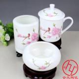 景德镇陶瓷茶杯三件套礼品茶杯烟灰缸笔筒套装生产厂家