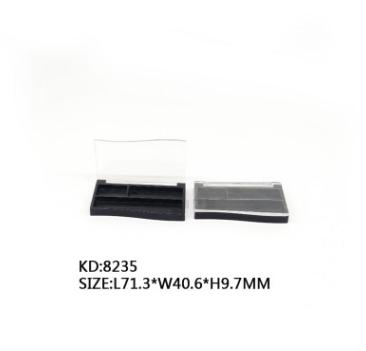 新品8235双格眉粉盒透明翻盖长方形带刷位眼影膏容器厂家直供