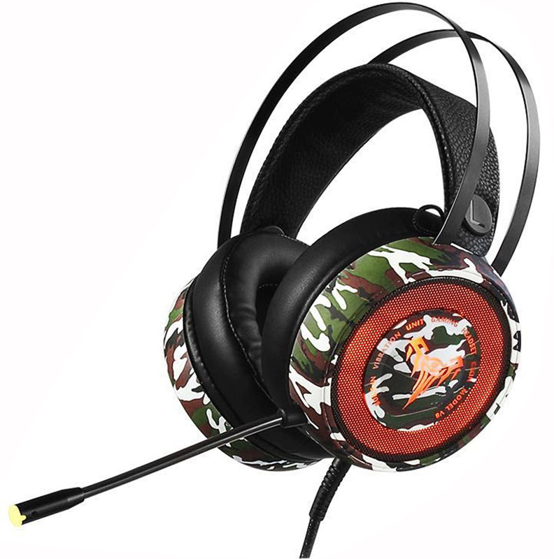 V8迷彩-速钛7.1声道 游戏耳机头戴式耳麦 绝地求生吃鸡 重低音发光电脑电竞网咖专用