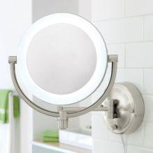 酒店浴室led带灯壁挂式双面化妆镜 可折叠伸缩卫生间挂墙镜子放大 酒店浴室镜批发
