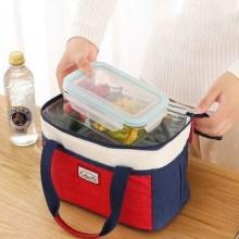 加厚饭盒袋便当手提包女保温袋铝箔大号帆布防水带饭包 带饭袋图片