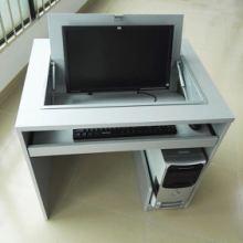 学校电教室翻转桌显示器隐藏翻盖多媒体机房电脑培训嵌入式电脑桌图片