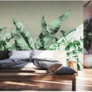北欧手绘简约芭蕉叶壁纸现代图片