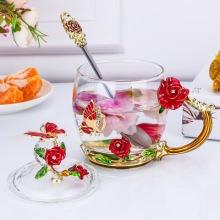 花茶杯家用耐高温水晶玻璃杯办公室女水杯会销礼品珐琅彩节日礼物