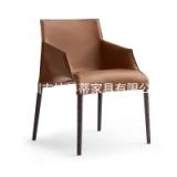 马鞍皮餐椅轻奢硬皮椅子马鞍革油边创意经典现代家具