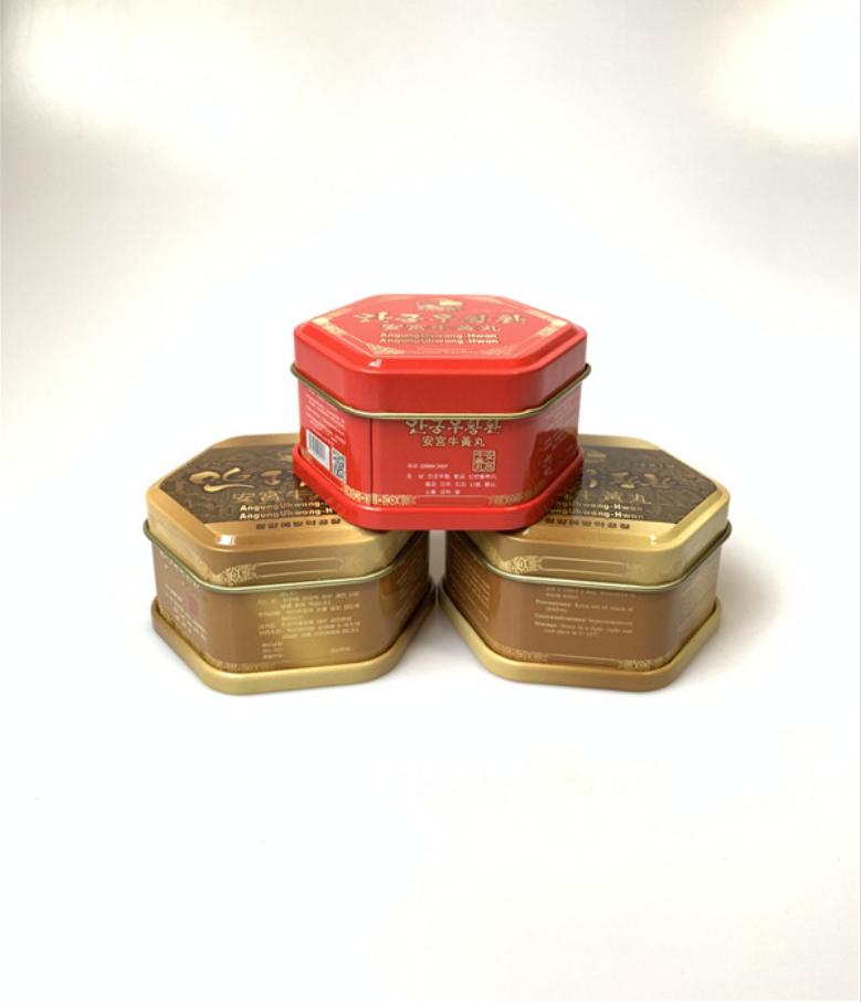 厂家定制药品包装盒 安宫牛黄丸六角形铁盒 六角罐马口铁金属盒 药品包装盒报价