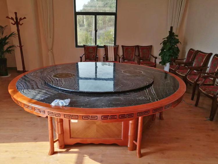 实木框架包边大理石电动餐桌